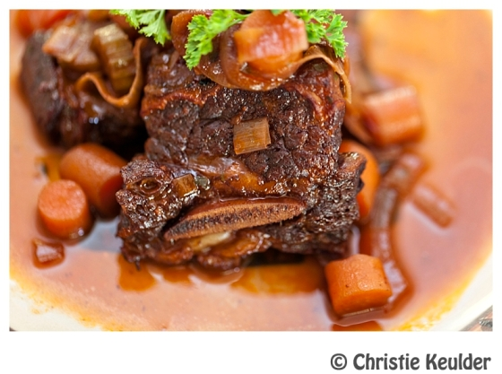 Slow braised short ribs with vegetables