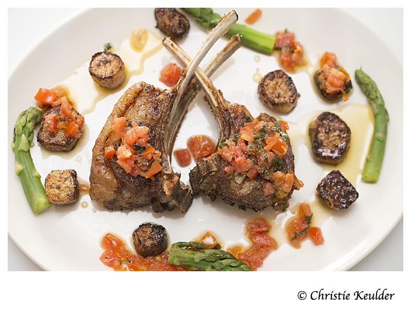 Sauteed Lamb Chops with Sauce Vierge and Ovihakautu
