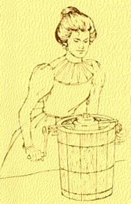 1846 : Nancy Johnston hand-cracked ice cream freezer.