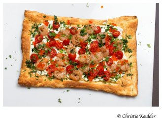 Prawn and Tomato Tart with Wasabi Cream